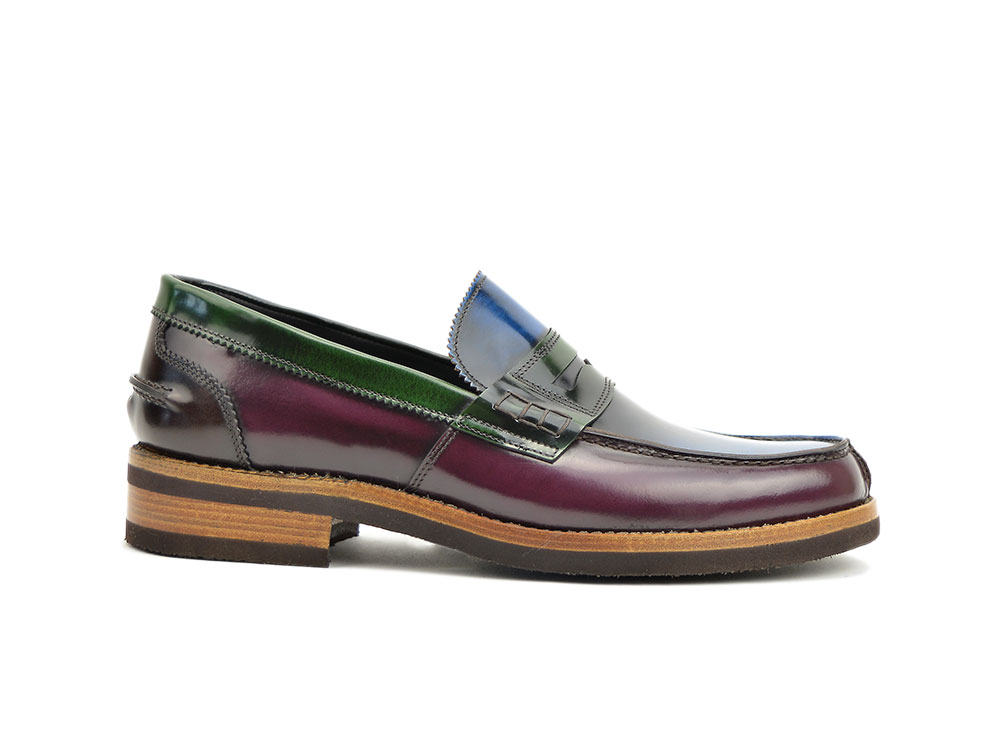 multicolor polished leather college loafer