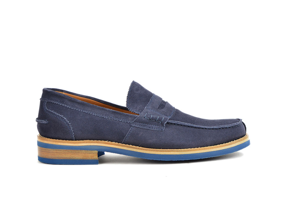 suede navy leather men college
