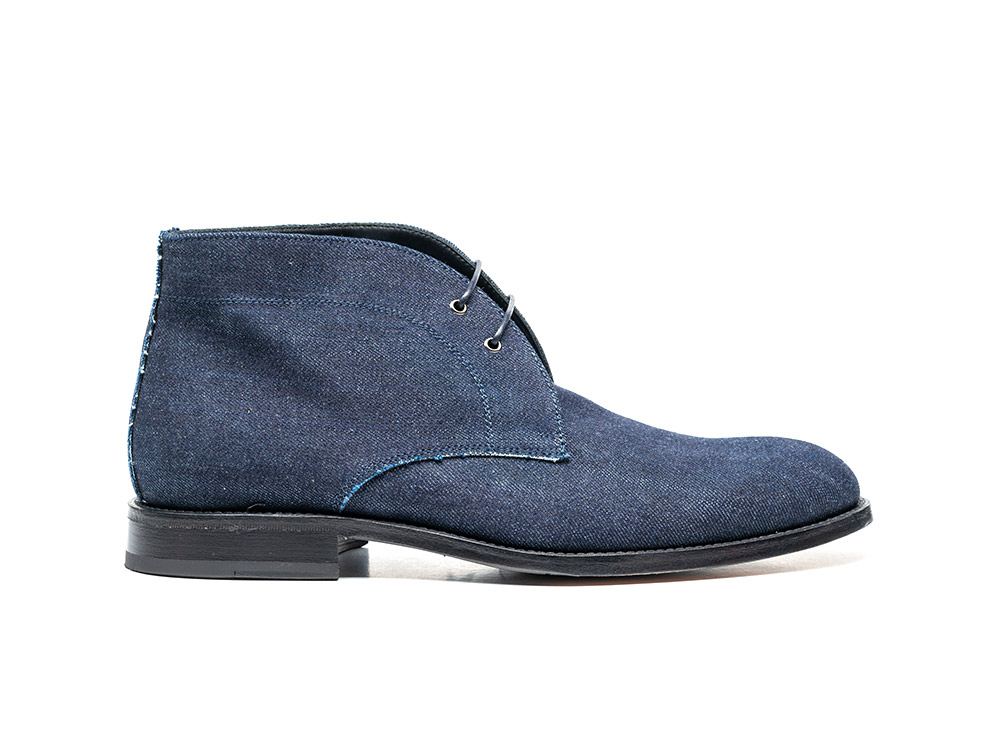 dark blue denim leather men desert boot