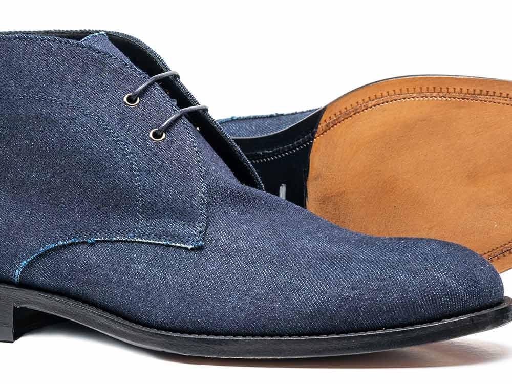 dark blue denim leather men desert boot dis. Black Bedroom Furniture Sets. Home Design Ideas