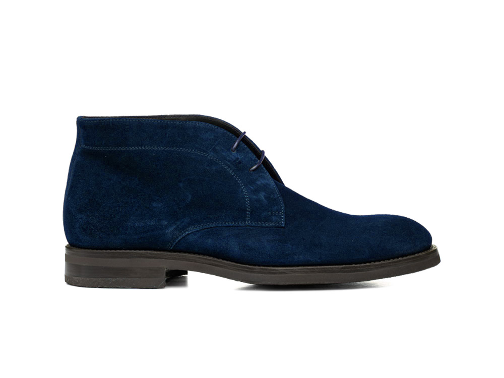blue suede leather men desert boot