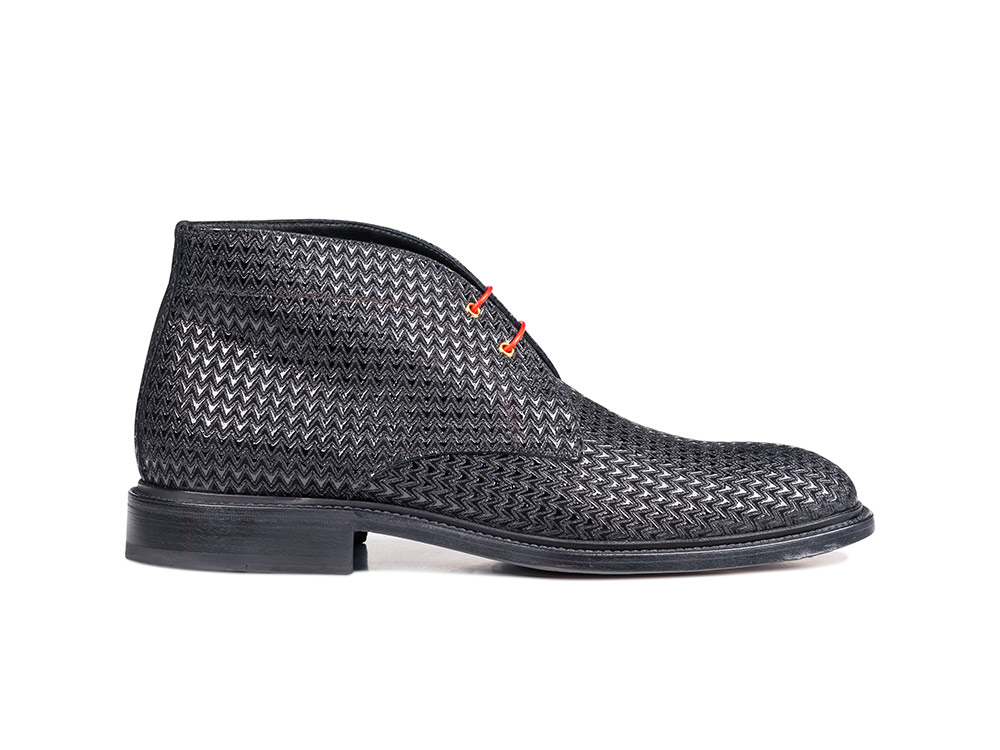 black victory pattern leather men desert boot