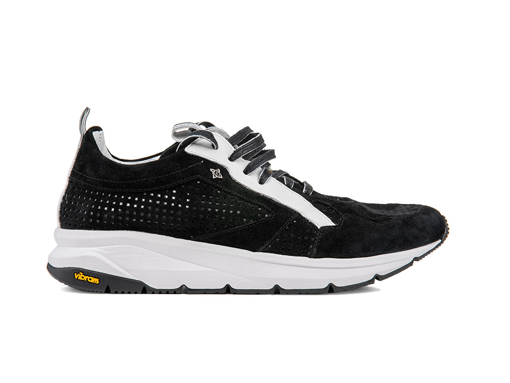 running suede perforated black and vibram sole