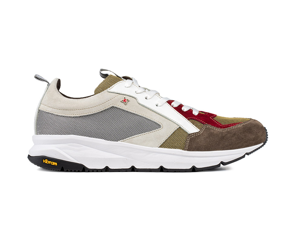 running suede multicolor brown and vibram sole