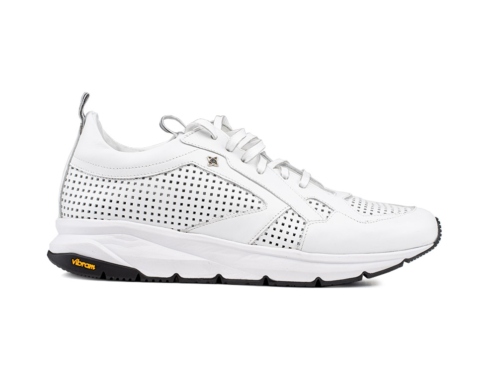 running suede perforated white and vibram sole
