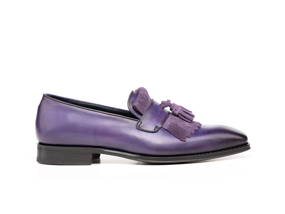 violet calf crust leather men fringe moccasin