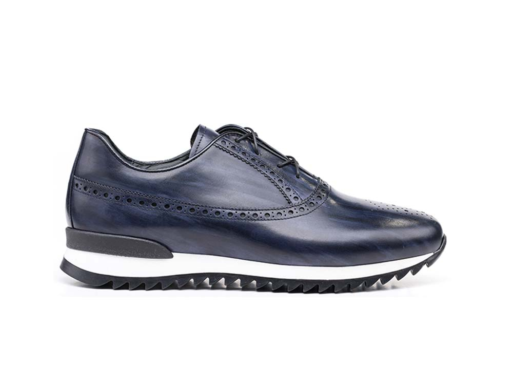 navy deco leather low top running