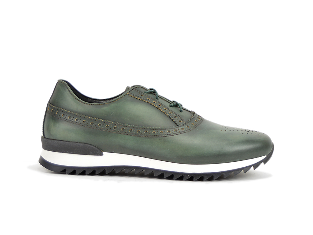 low top running deco green leather
