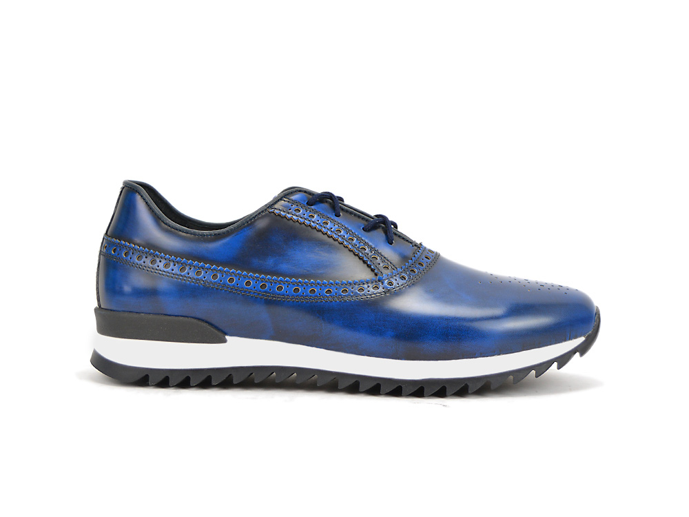 low top running polished blue leather