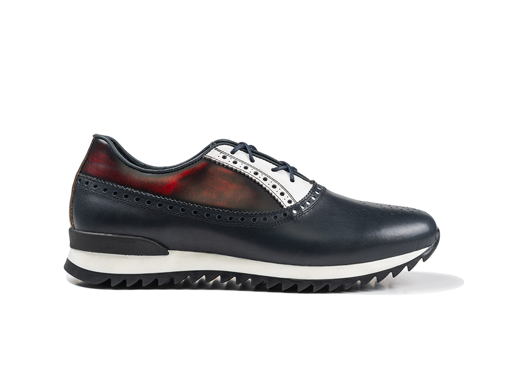 low top running red polished navy calf leather
