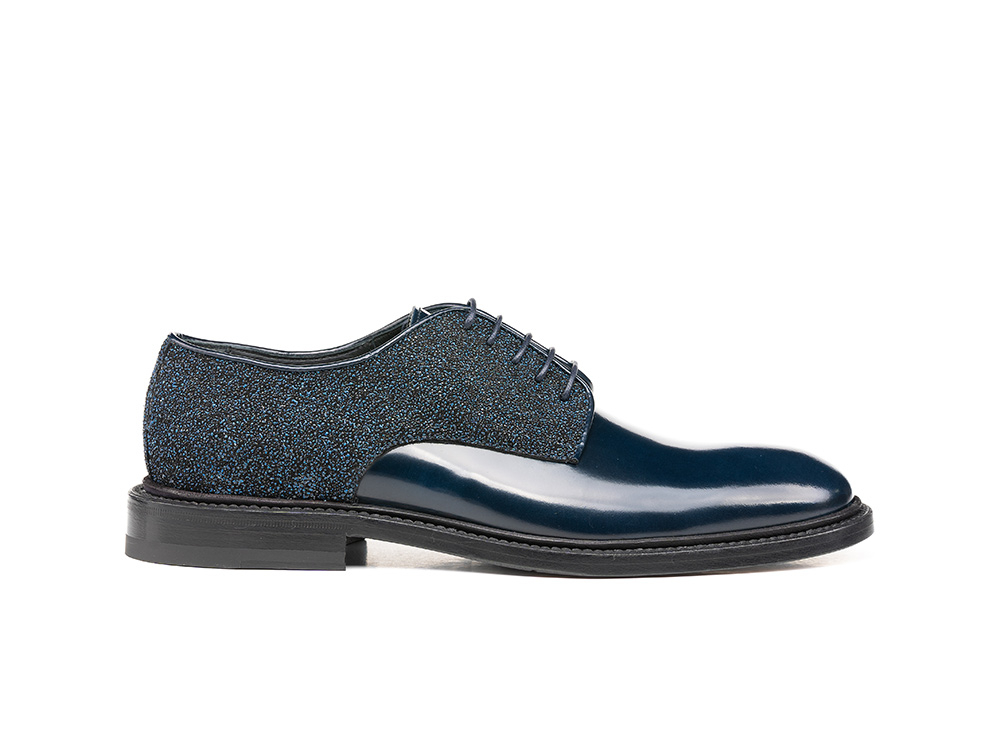 blue glitter shiny woman derby shoes