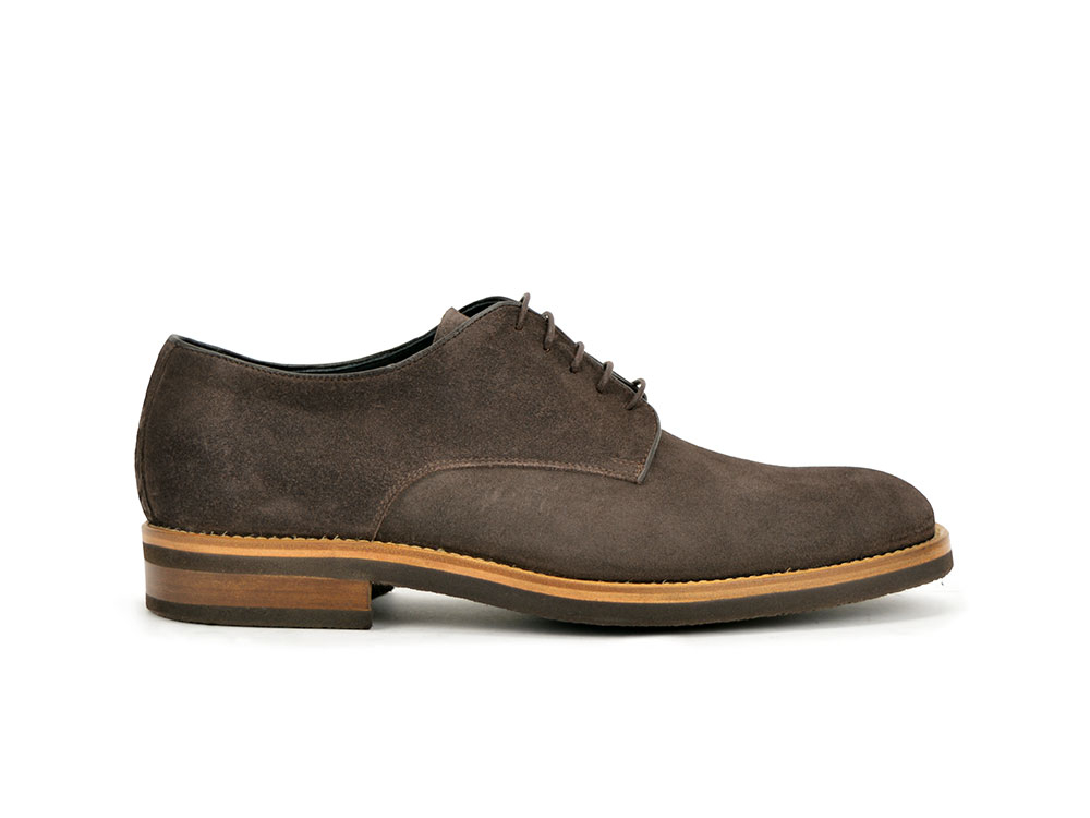 men derby plain in brown suede leather