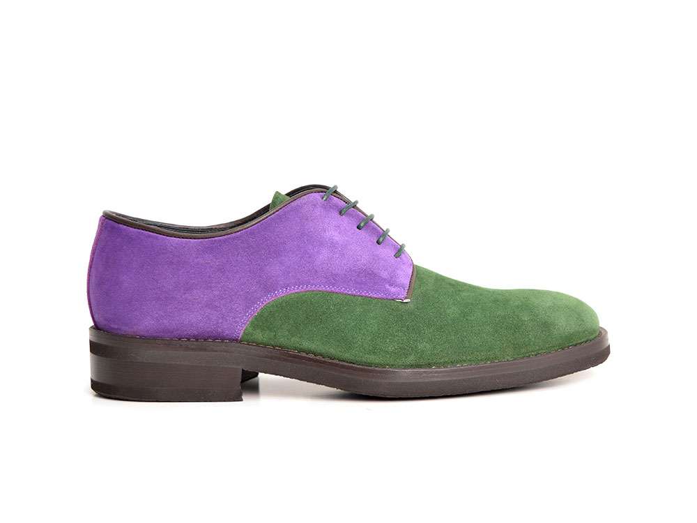 violet green suede man derby