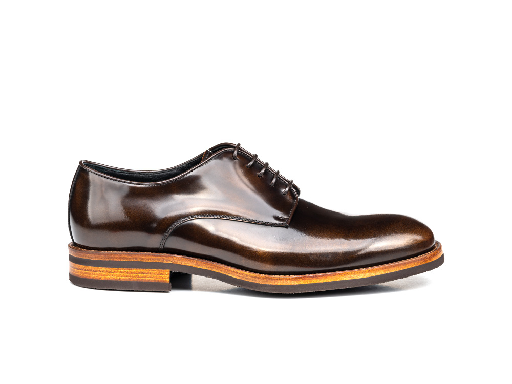 bronze polished leather men derby plain
