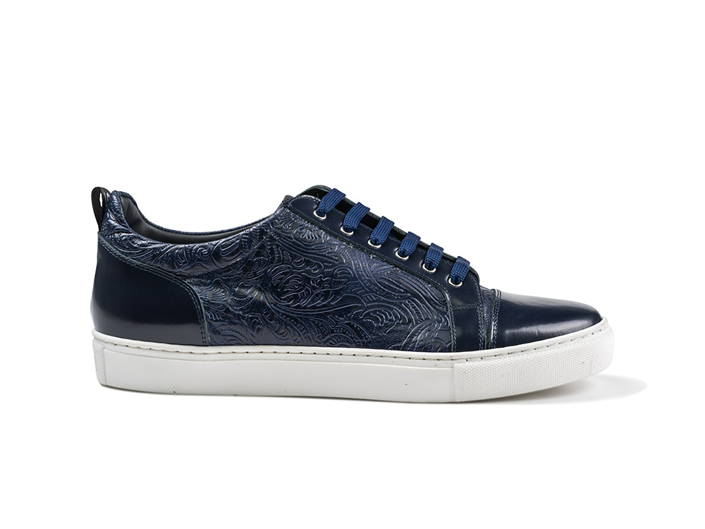 sneakers basse stampa damasco blu