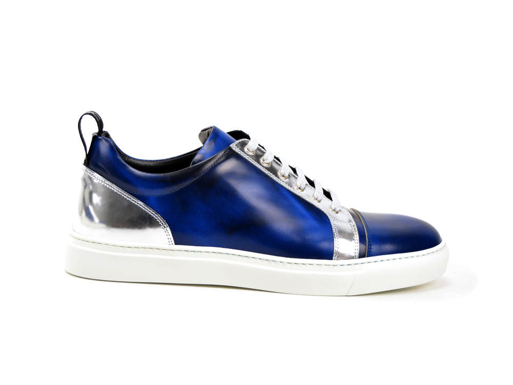 low top sneakers bicolor leather