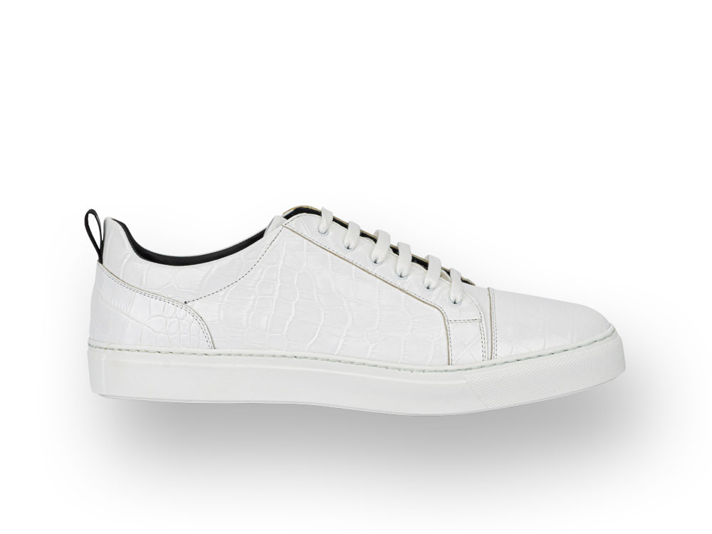 low top white crocodile pattern leather sneaker