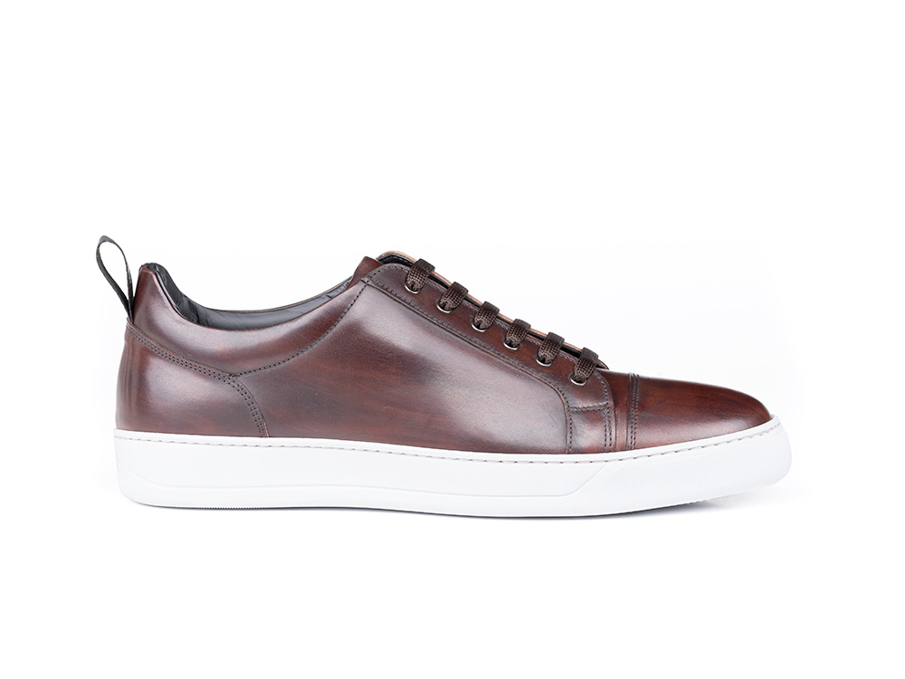 low top coffee decò leather sneaker