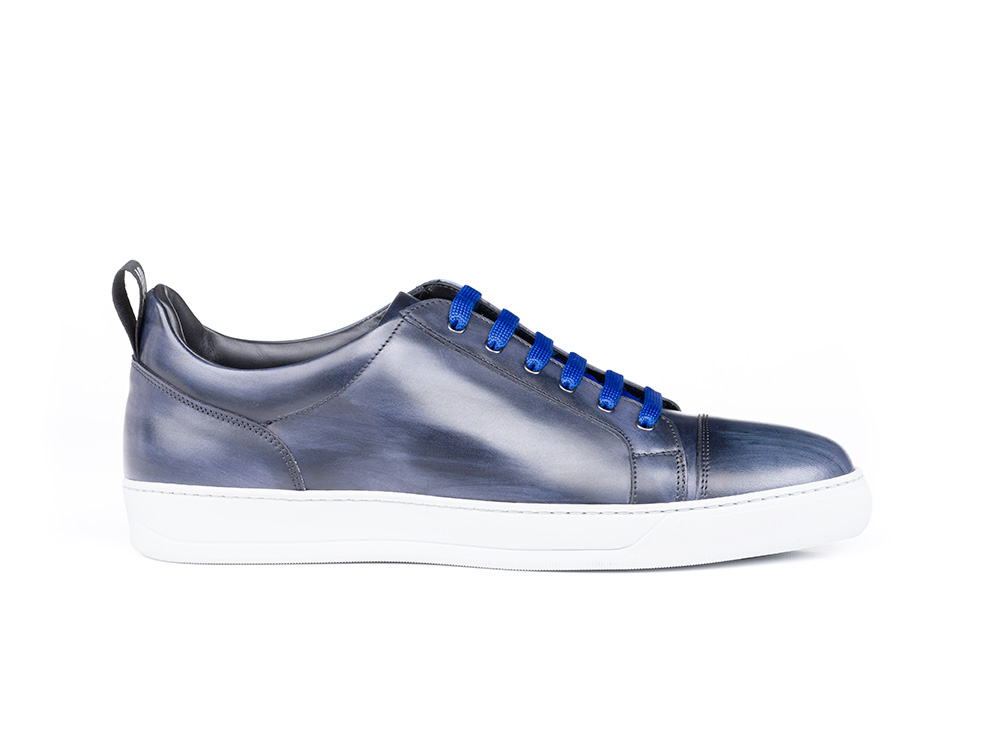 low top blue decò leather sneaker