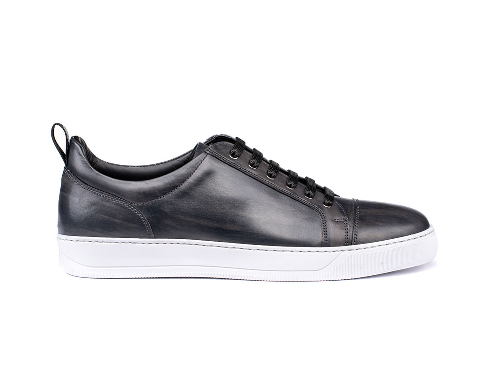 low top grey deco leather sneaker