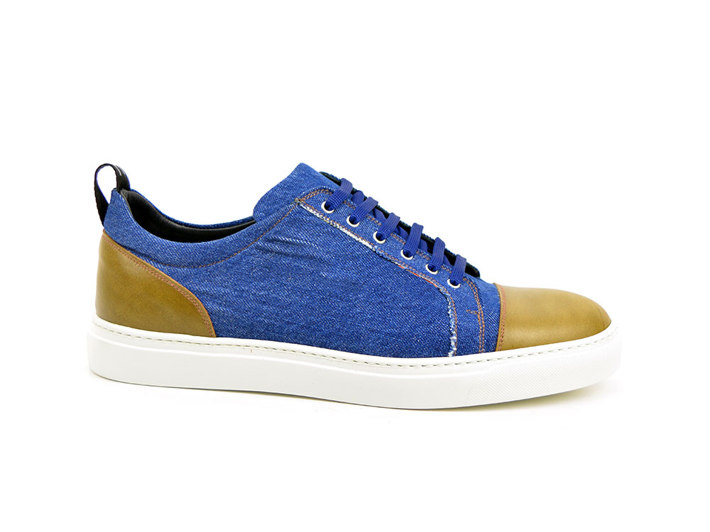 low top sneaker in denim and deco olive leather