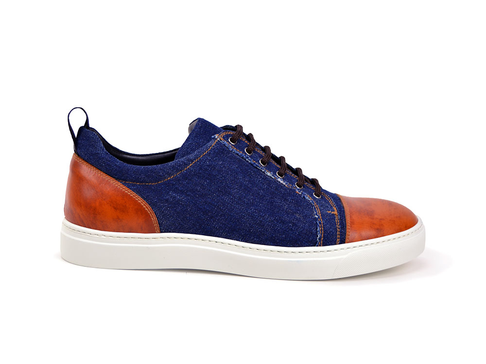 low top sneaker denim and brown deco