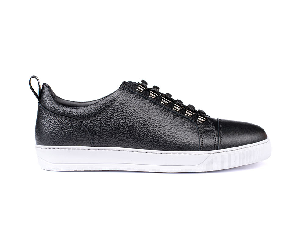 low top black grain calf leather sneaker