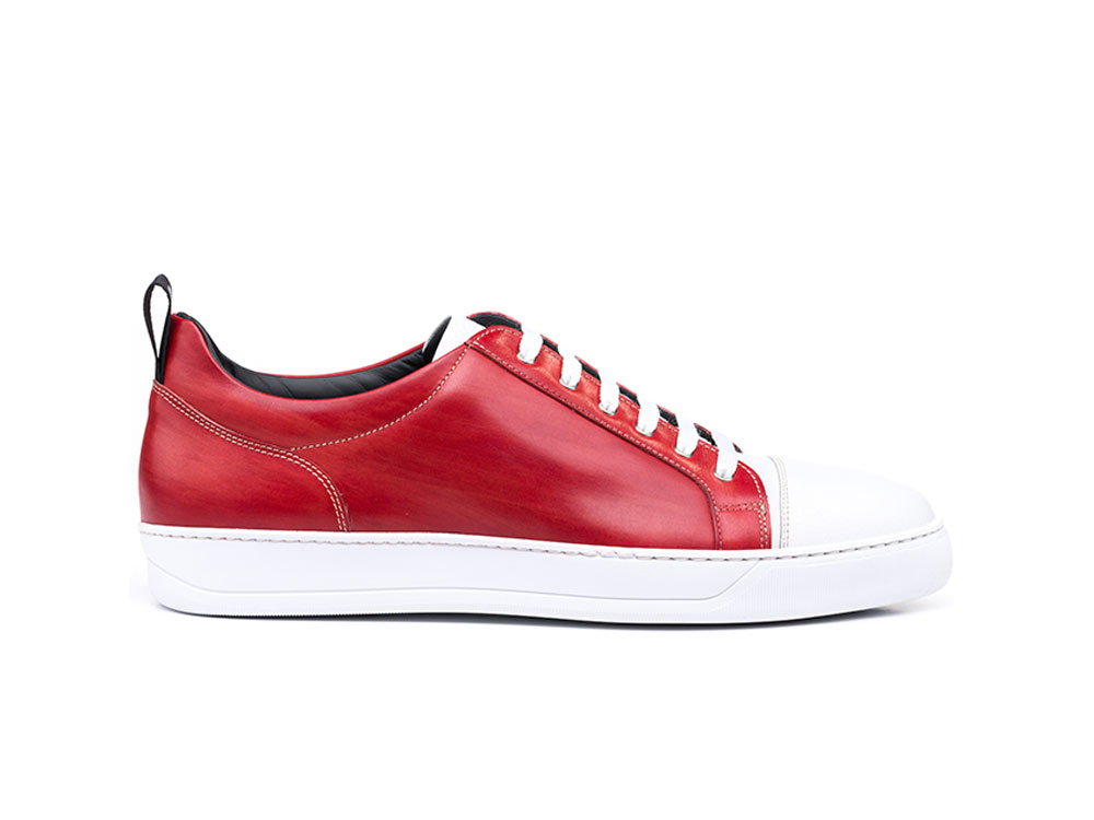 red deco white grain leather low top sneakers