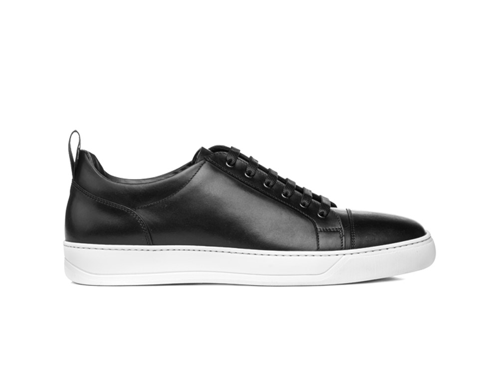 low top black calf leather sneaker