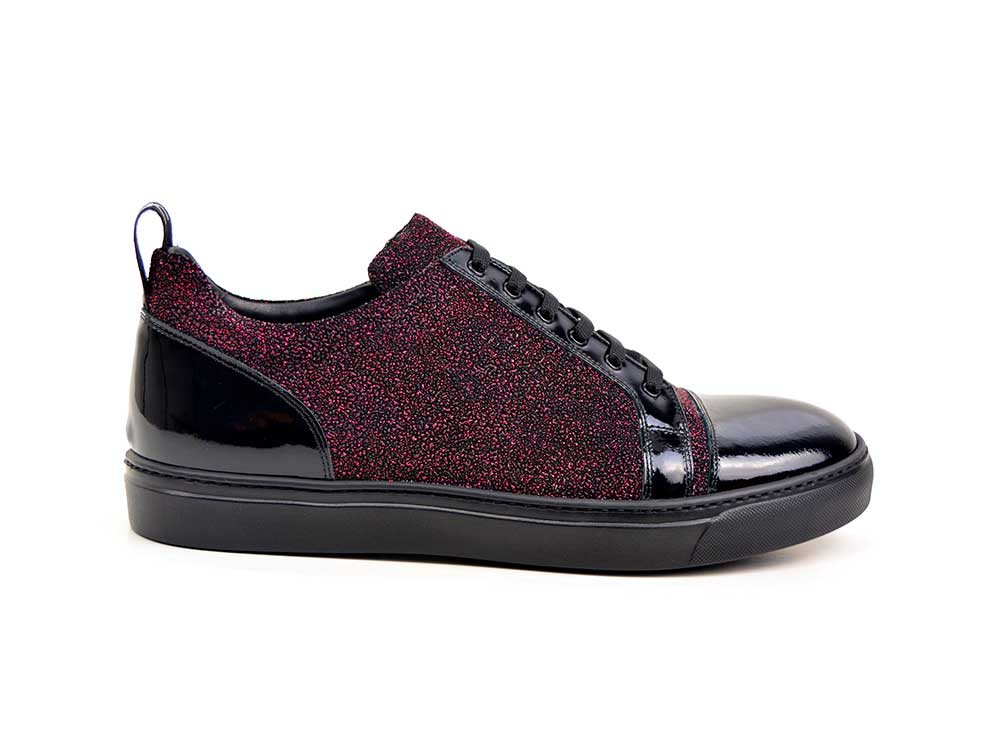 low top sneakers printed glitter and patent leather
