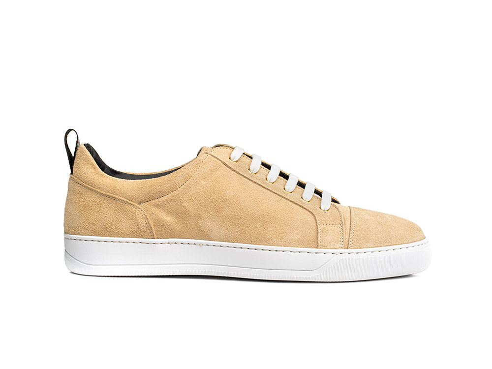 sand suede low top sneakers
