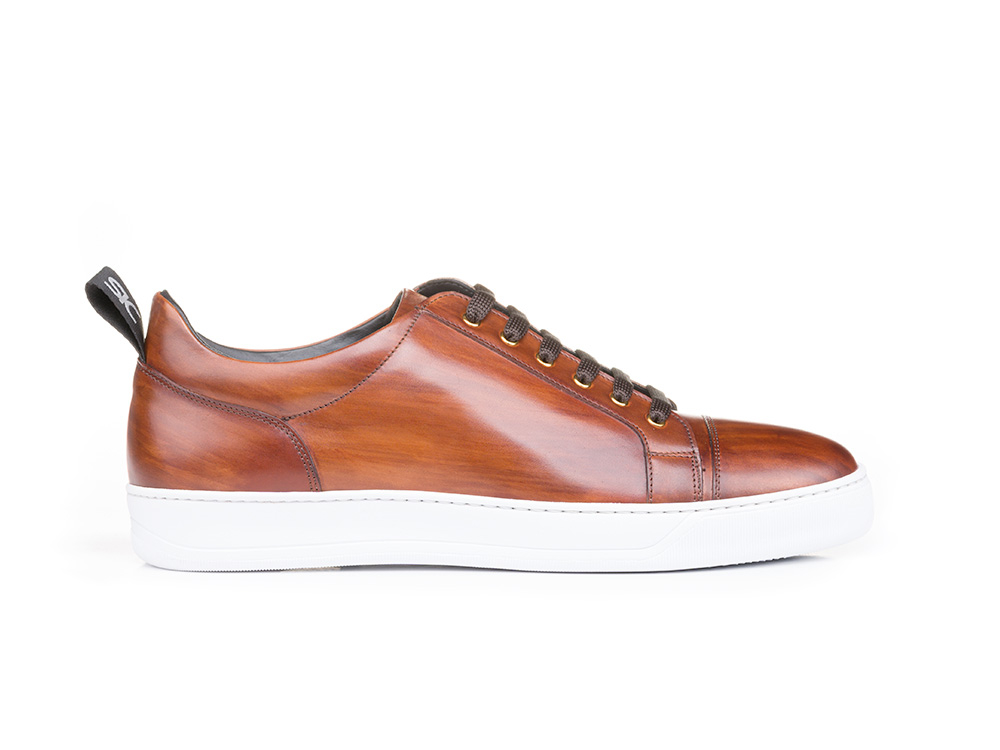 low top brown decò leather sneaker