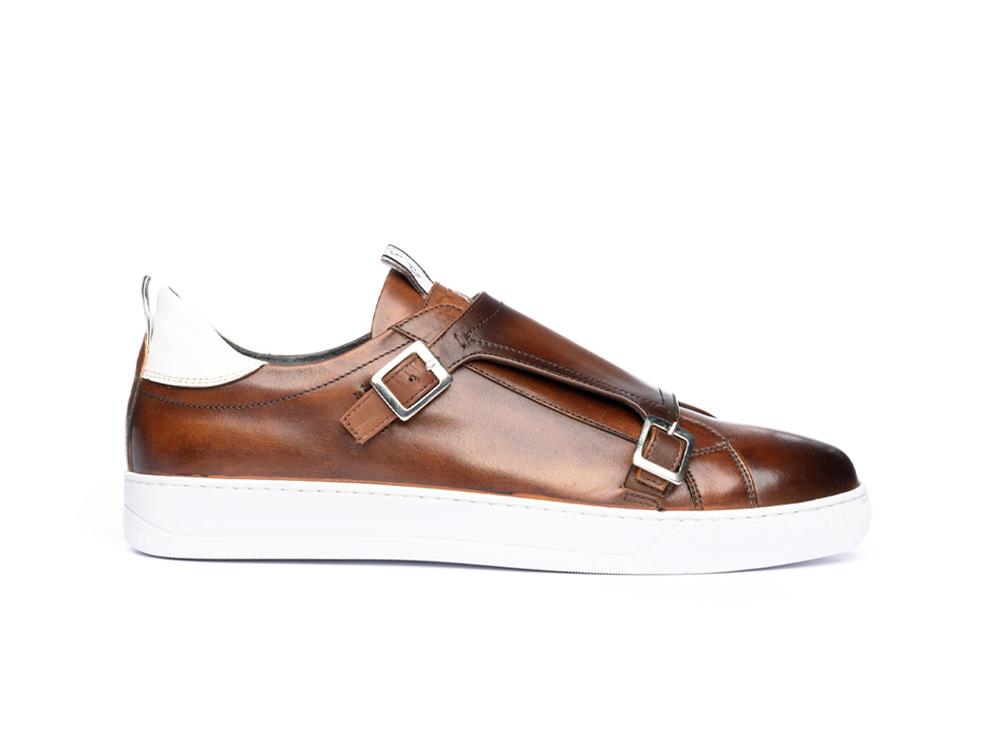 sneakers doppia fibbia deco marrone scuro