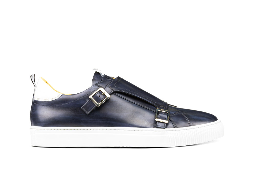 navy deco double monk sneakers