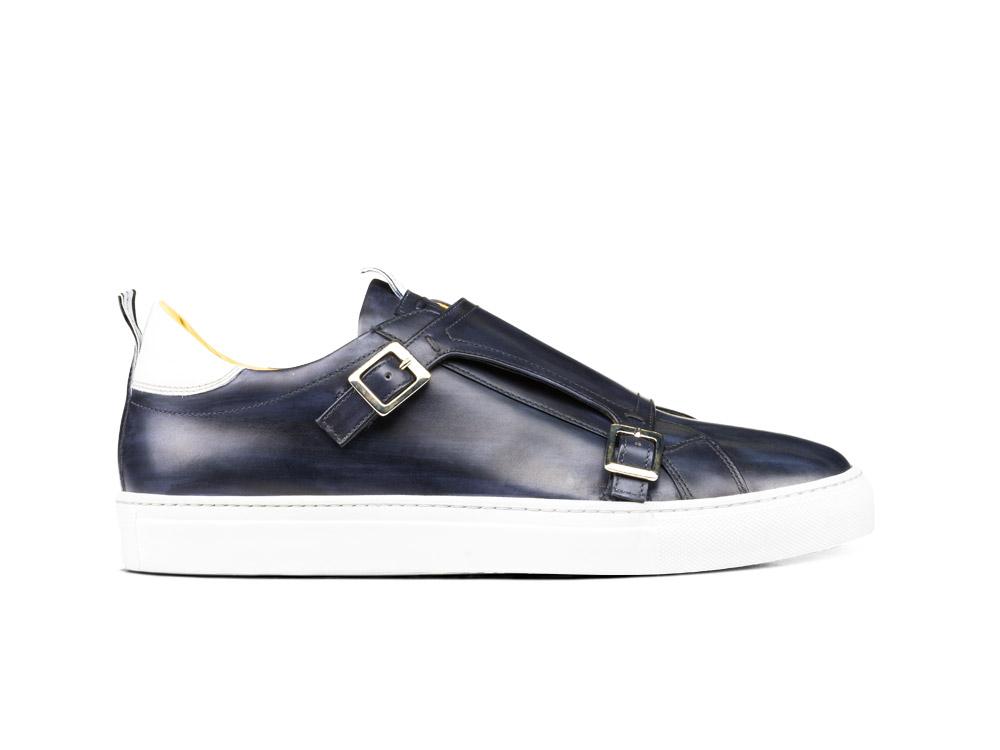 sneakers doppia fibbia deco blu