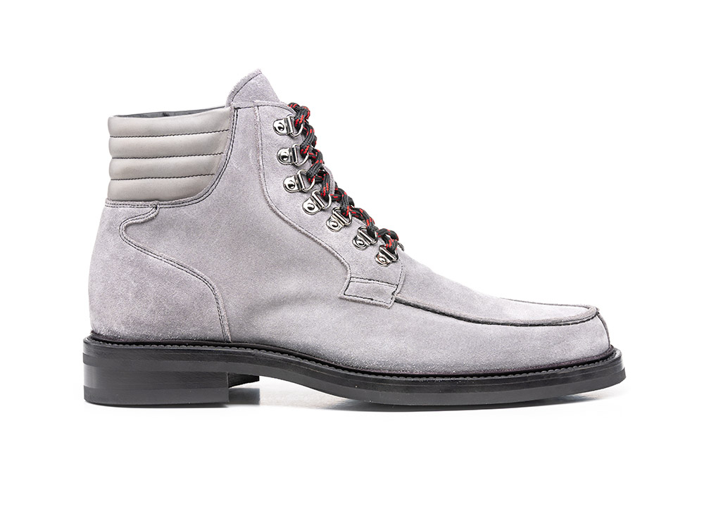 suede leather grey climbing boot