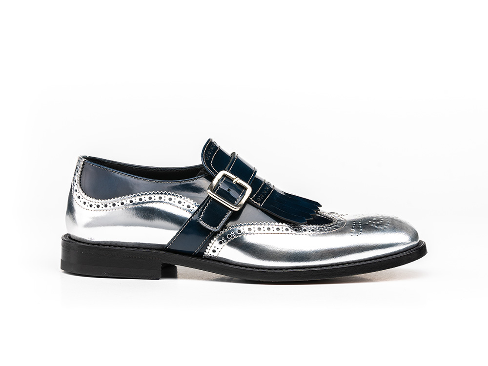 blue silver shiny woman fringe moccasin shoes