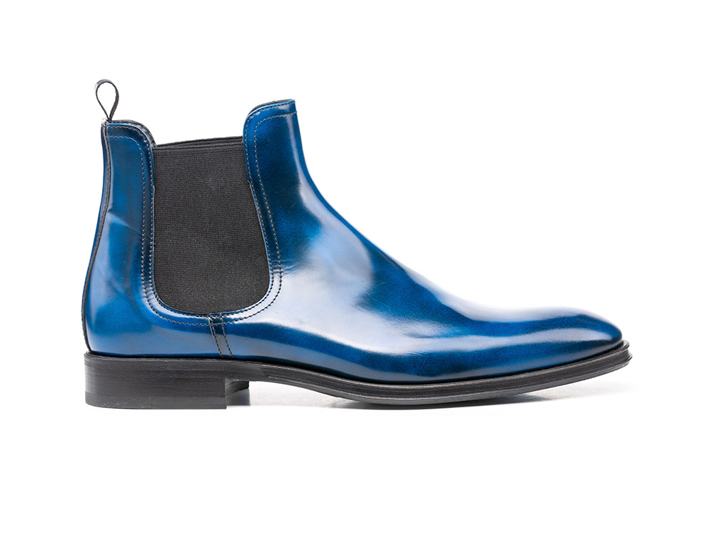 blue polished leather men chelsea boot