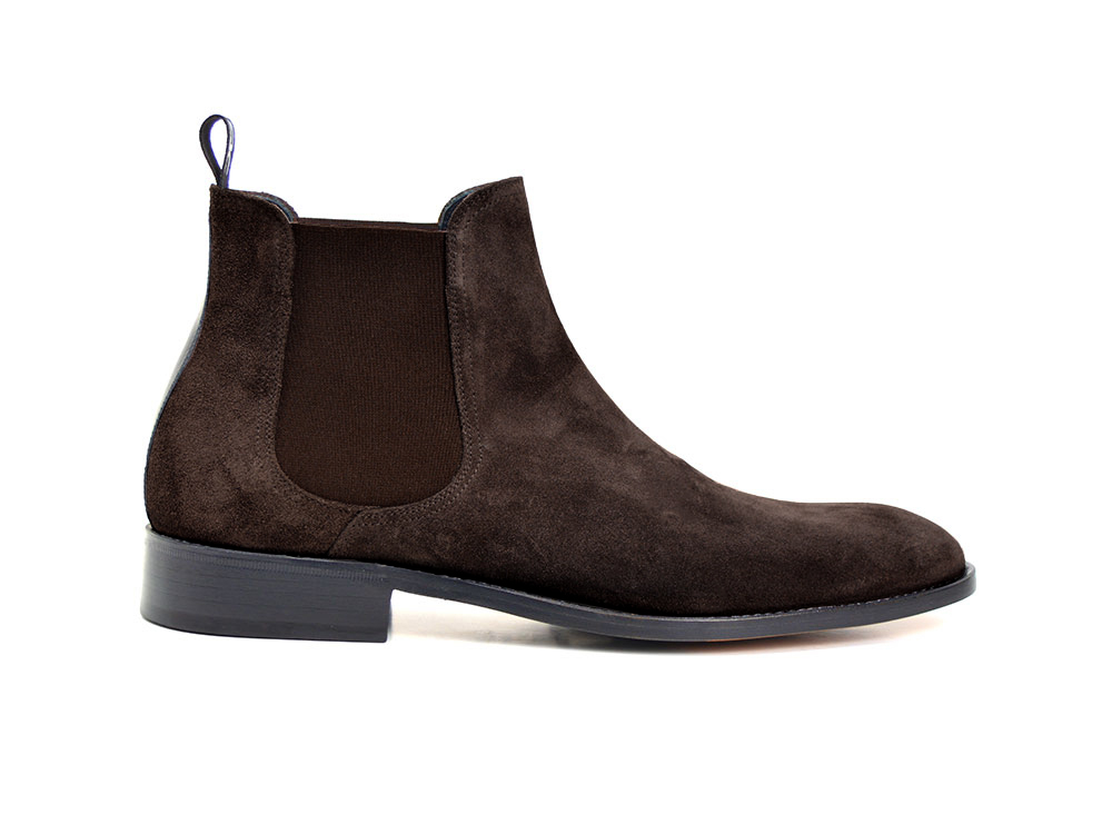 coffee suede leather men chelsea boot