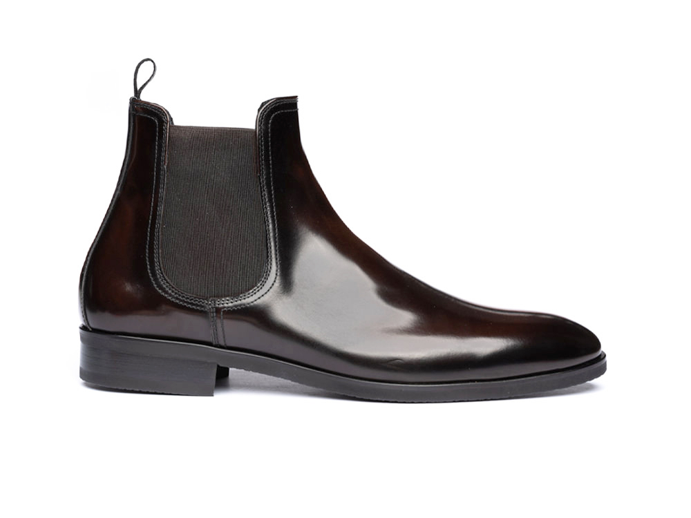 coffee polished leather men chelsea boot
