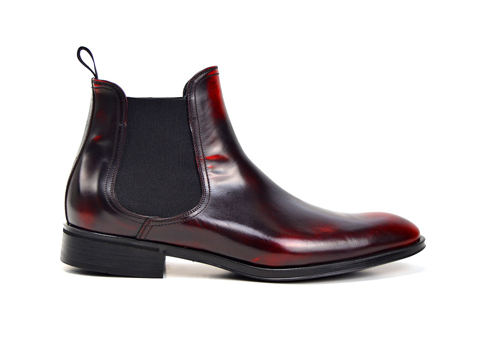 burgundy polished leather men chelsea boot
