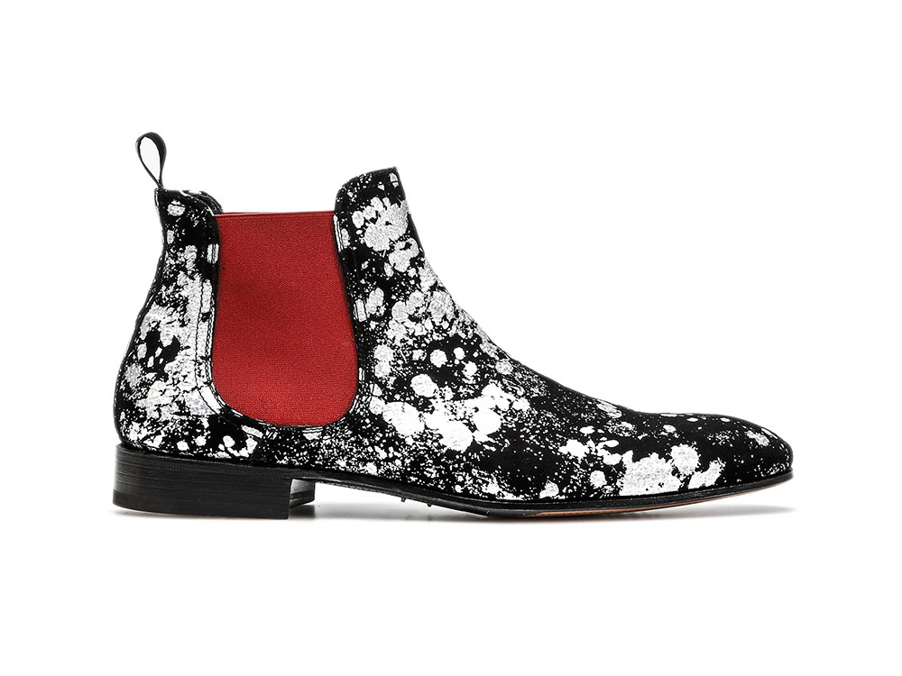 silver spray pattern leather men chelsea boot