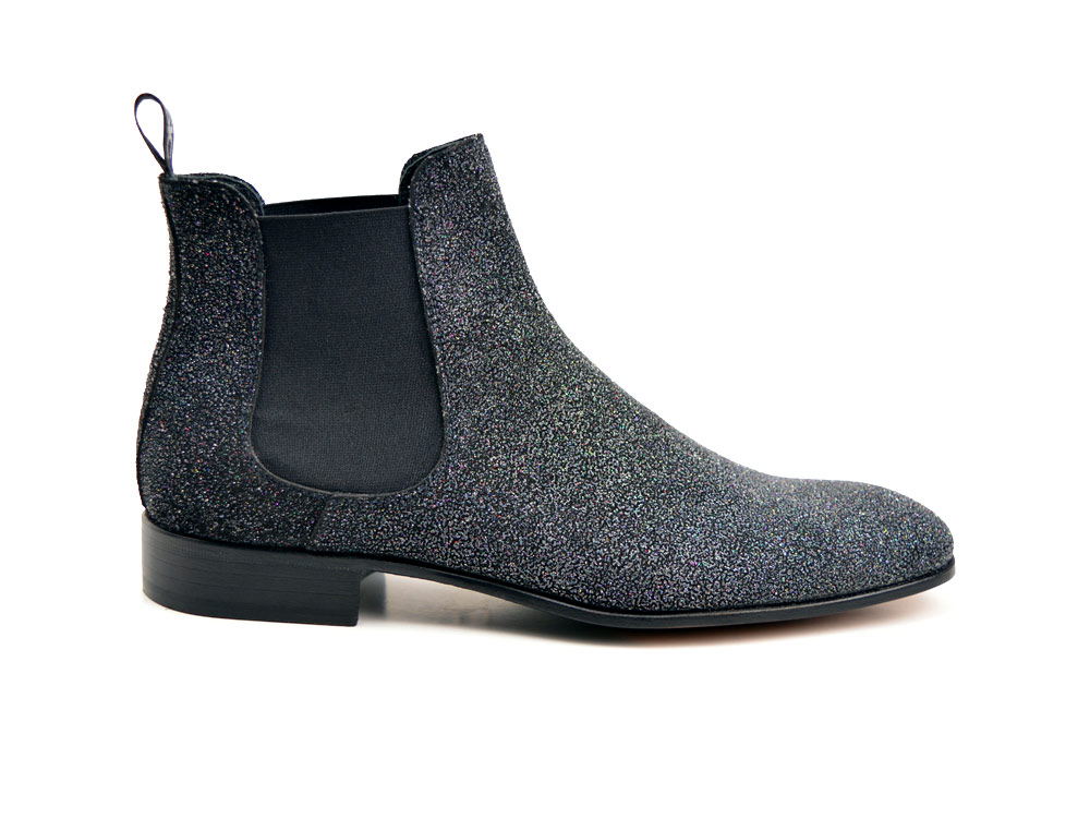 black stardust pattern leather men chelsea boot