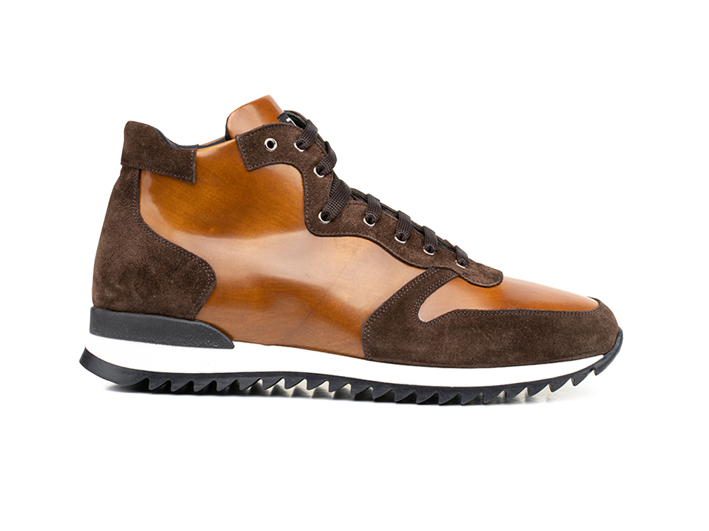 high top running polished suede leather brown