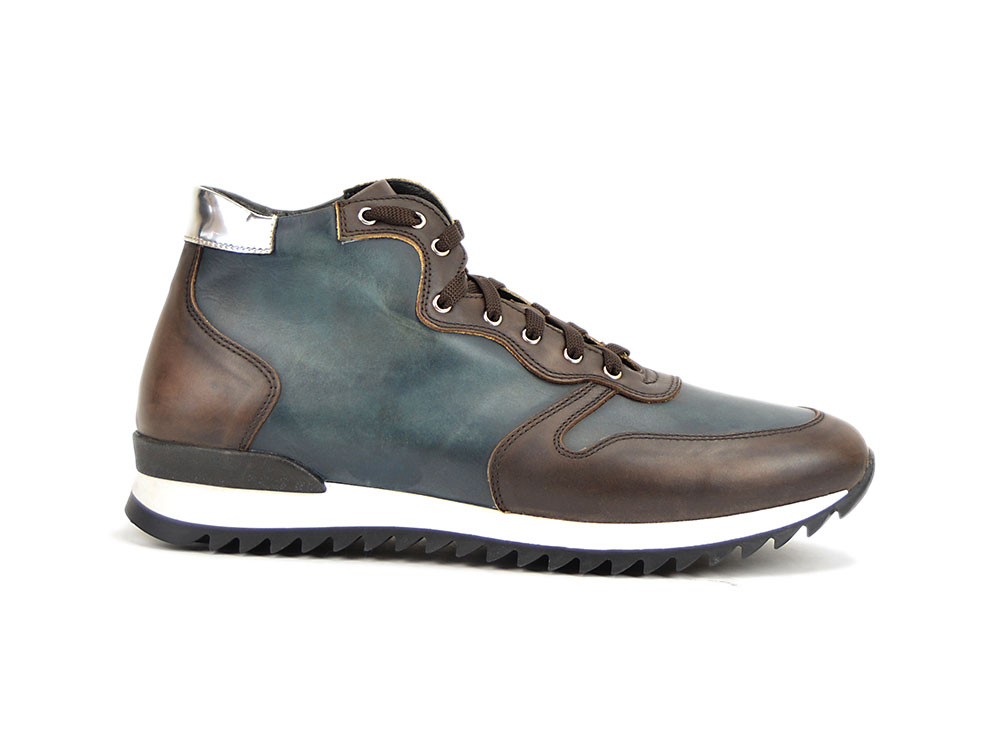 blue dark brown deco leather high top running