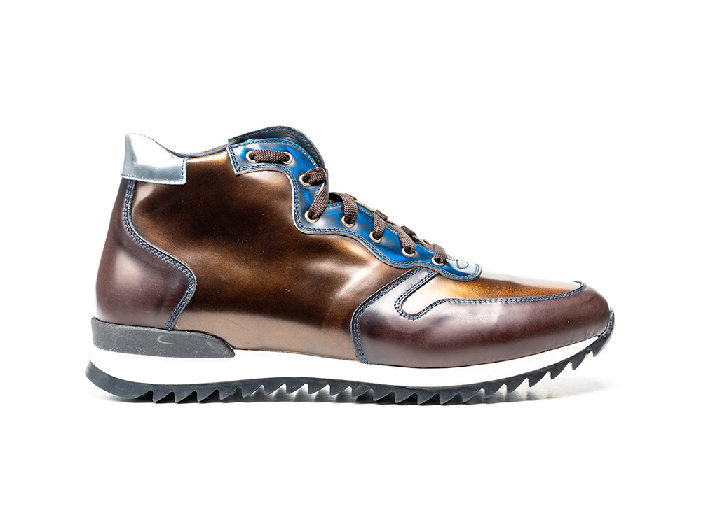 blue coffee bronze polished leather high top running