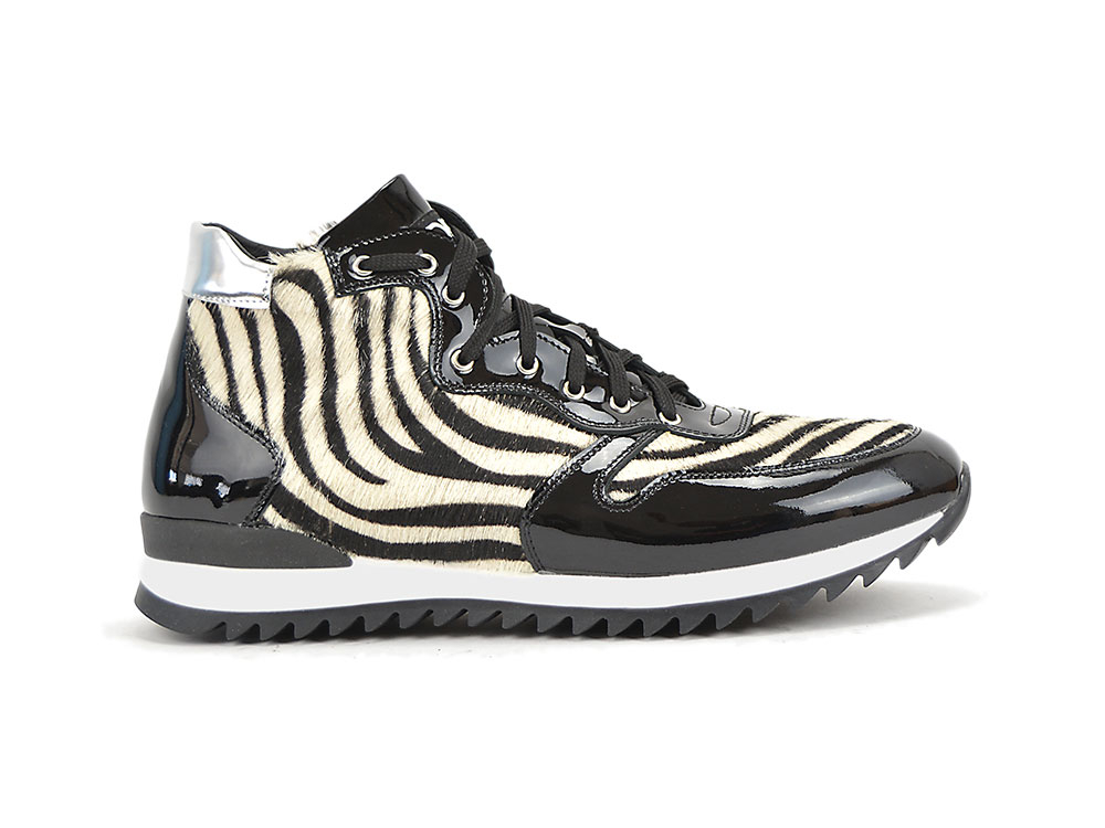 high top running black shiny leather zebra