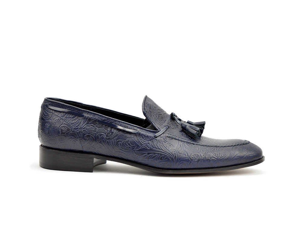 blue damask tassel loafer