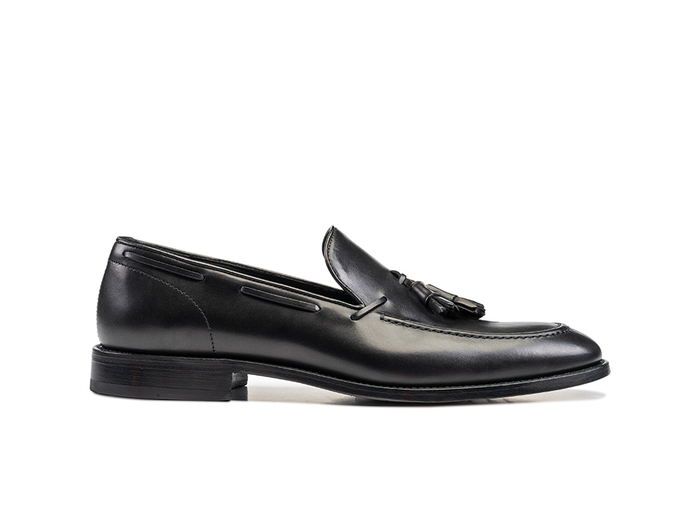 black calf leather men tassel loafer