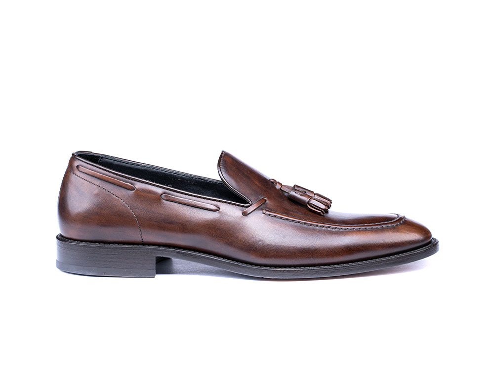 coffee deco leather men tassel loafer